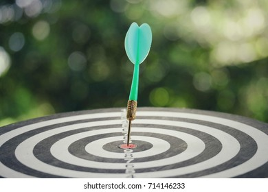close up dart arrow hitting on target center of dartboard with green nature copy space background, success and sport concept