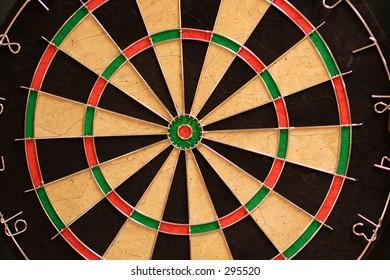 Close up of a dart board