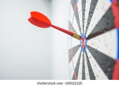 Close up of dartboard with dart arrows in center