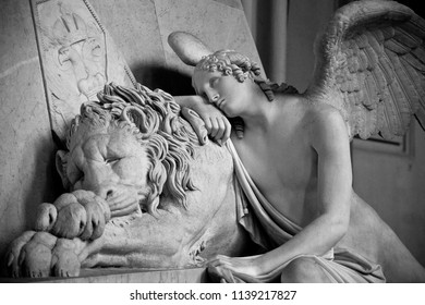 Close up and deails from a big marble sculpture of antonio canova