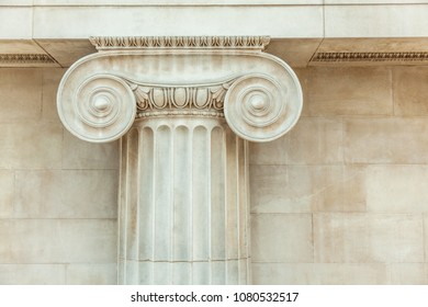 Close up Decorative detail of an ancient Ionic column