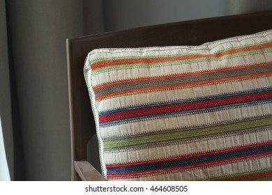 close up of Decorative pillow on chair