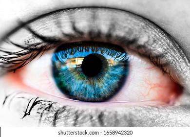 close up of a deep blue eye