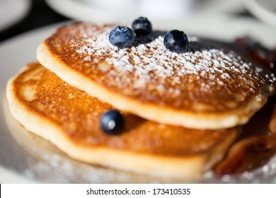 Close up of a delicious blueberry pancakes for breakfast