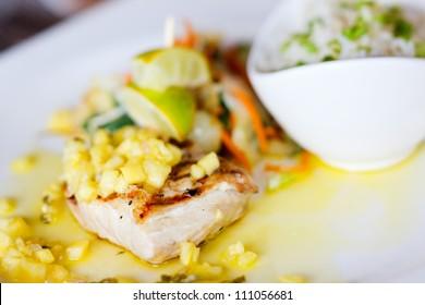 Close up of delicious mahi mahi fish dish
