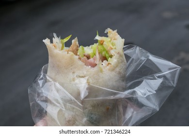The close up of delicious Taiwan spring roll at food street market in Taipei, Taiwan.