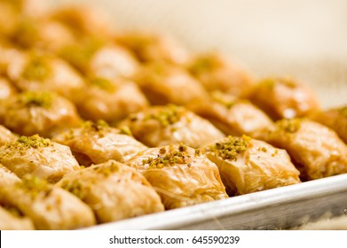 Close up of a delicious traditional turkish food baklava with pistachio