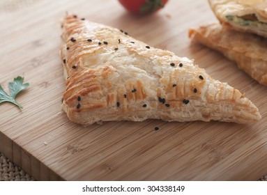 Close up of a delicious Turkish borek for breakfast