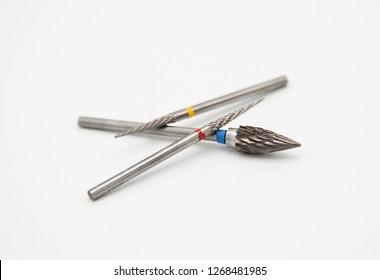 Close up Dental carbide bur tool, shallow depth of field