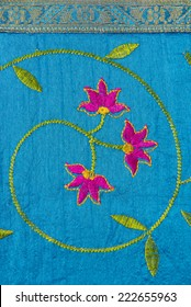 A close up of a design element from an Indian textile.