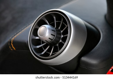 Close Detail of the air vent  in a luxury Performance Car