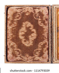 Close up detail of an antique ornate original Daguerreotype case