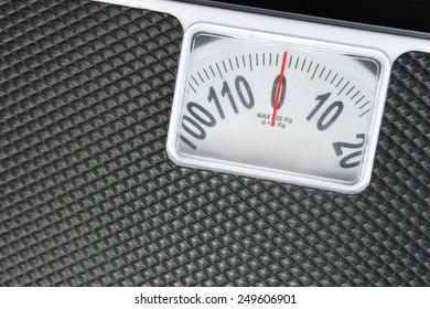 Close up detail black weight scale.