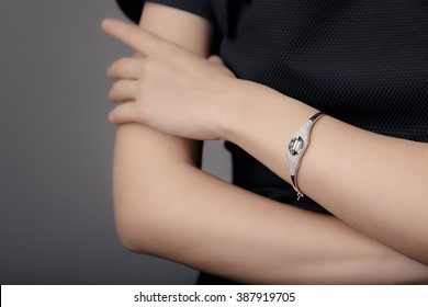 Close up Detail of a Bracelet on a Female Hand Model - Image of a beautiful sparkling fashion accessory bracelet