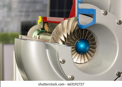 close up detail cross section impeller inside of electric centrifugal pump or blower for industrial