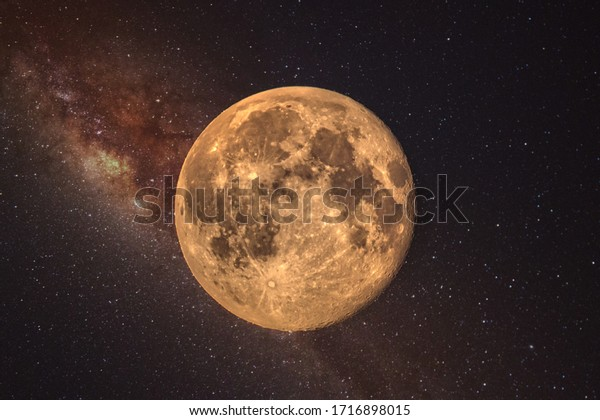 Close up detail of a full moon.  The Full Worm Supermoon on March 9 of 2020. Barcelona,Spain
