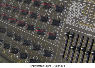 Close up detail of graphic equaliser and knobs on music amplifier