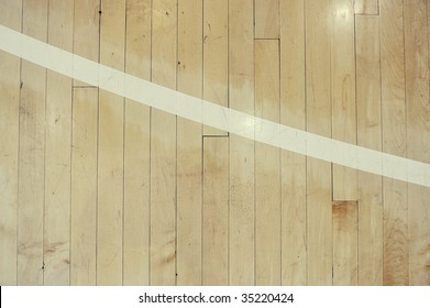 Close up detail of a hardwood basketball court for background