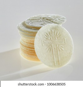 Close up detail of Hostie or consecrated Sacramental Bread for the Holy Communion service in a church