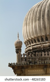 Close up detail of a minaret on a mausoleum in Hyderabad India