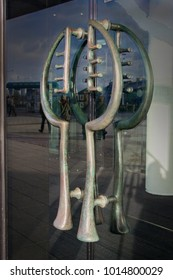 Close up detail of the modern door handles to the Wales Millennium Centre, Cardiff, Wales, UK