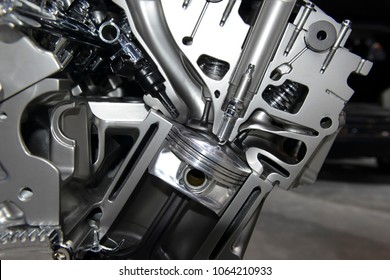 Close up detail of modern powerful automobile internal combustion engine which burns cleaner and is more environmentally friendly than older engines