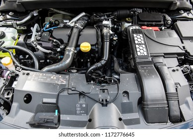 Close up detail of the new car engine