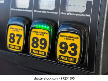 Close up detail of octane rating selector in gas pump