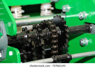 Close up of detail on gear on agricultural machine