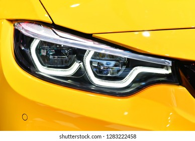 Close up detail on one of the LED headlights modern car