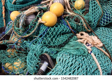 Close up detail of rope and netting of commercial fishing nets