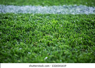 Close up detail of the soccer field turf