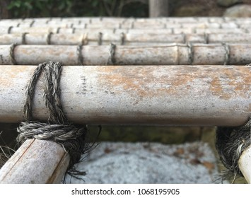 Close up detail of tied up bamboo raft