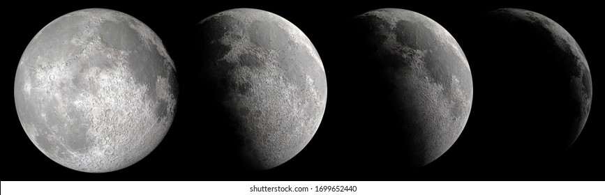 Close up detail of various moon phases from full to waxing crescent