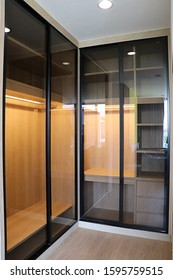 close up detail of wardrobe with sliding door