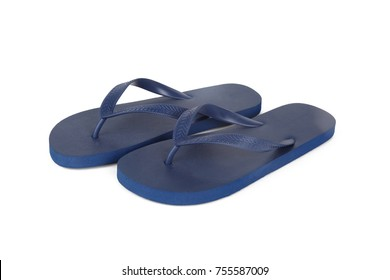 Close up detailed front view of dark blue plastic flip flops slippers isolated on white background.