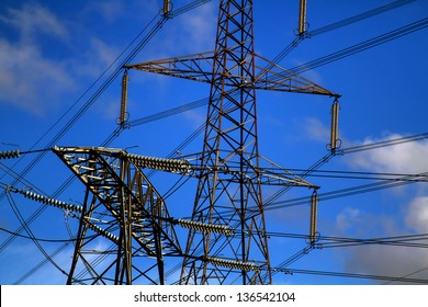 close detailed shot of pylons in the UK