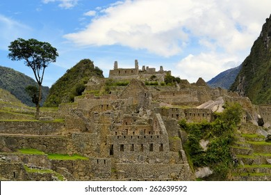 Close up detailed view of buildings in Machu Picchu. Machu Picchu is the famous lost city of the Incas near the river Urubamba located in the region of the sacred valley of Cuzco. Machu Picchu is a