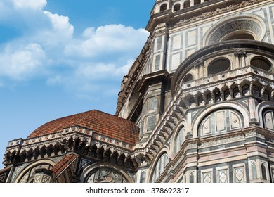 Close up detailed view of Santa Maria Del Fiore, famous Florence Duomo, with detailed sculptures of renaissance time.