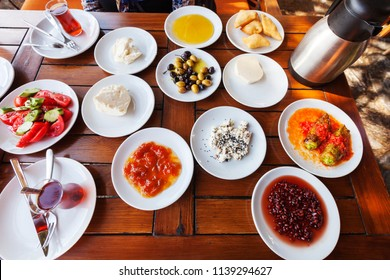 Close up detailed view of Turkish style rich and delicious breakfast table in Sirince, Selcuk, IZMIR - TURKEY