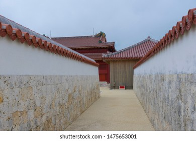 Close up detailed of wall and roof architecture of Shuri Castle in Okinawa, Japan.