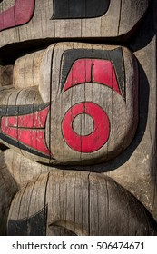 Close up detailing of ancient colorful Totem pole in Duncan, British Columbia, Canada.