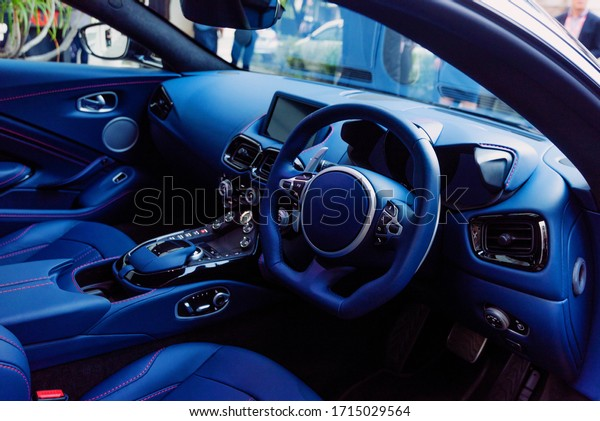 Close up  and details of blue sport cars