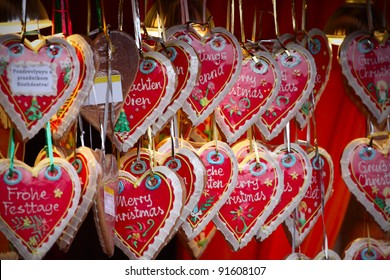 close up details of christmas markets. Cake hearts. Vienna, Austria