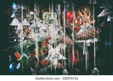 close up details of christmas markets. Christmass tree decorations. Vienna, Austria