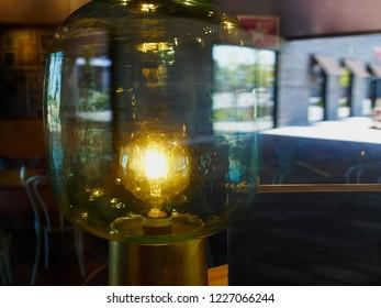 Close up details of a decorative antique edison style light bulb