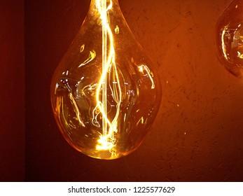 Close up details of a decorative antique vintage edison style light bulb