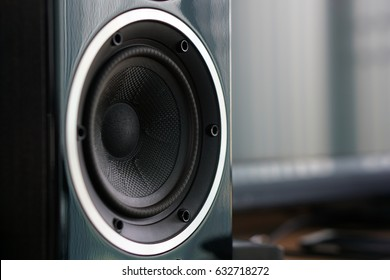 Close up details of loudspeaker woofer and tweeter driver.