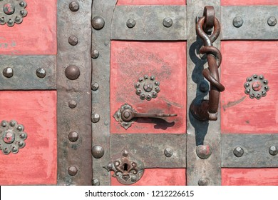 The close up details of main entrance door of a stronghold Bouzov castle, Czech Republic.