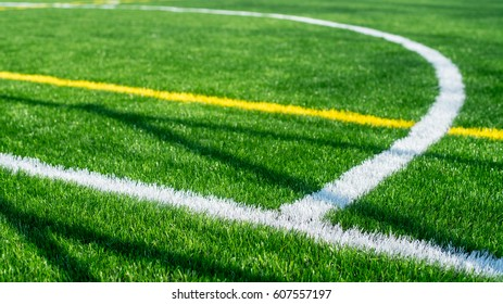 Close up details of spray lines  artifical grass of football field  as background image